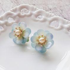 momolico blue camellia earring handmade   momolico 桃子莉可
