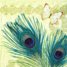 Paper Napkins Set of 4, PEACOCK FEATHERS CREAM 33cm Decoupage Napkins For Sale…