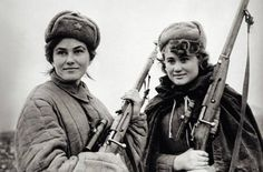 WW2 Soviet snipers from the Red Army's 25th Rifle Division. These women dropped a lot  of German soldiers. The one on the left is Ludmila Pavlichenko a Ukrainian Soviet sniper. Credited with 309 kills, she is regarded as the most successful female sniper in history
