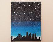 """Acrylic Painting Canvas Original Boston Skyline 12x16 """"Boston Sky"""""""