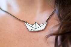 Origami Boat Pendant on Antique Style Gold Chain - Hand Illustrated - Shrink Plastic - Paper Sailboat Necklace