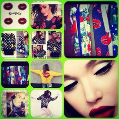 Follow us new t-shirt, canotta e felpa: lips pachwork, flowers, jewelry , Stone, stirpe, strass