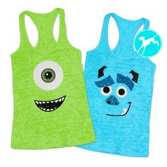 Workout Tank Sully monsters inc Disney costume by greyhoundgraphic