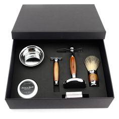 Shaving Set with DE Safety Razor + Badger Shaving Brush + Stand + Shaving Bowl + Milk Shaving Soap
