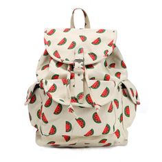 Boy Girl Cute Watermelon Print Canvas Backpack Rucksack School Bag