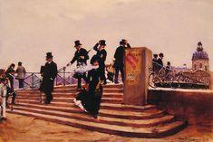 "Jean Beraud (1849-1936) Pont des arts Oil on panel  17.8 x 26 cm (7.01"" x 10.24"")"