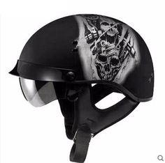 Harley Half Open Face DOT Motorcycle Helmet Skull Vintage Moto Helmets With Inner Visor Motocicleta Capacete Retro Casco Casque Dot Motorcycle Helmets, Bicycle Helmet, Riding Helmets, Half Helmets, Open Face Helmets, Biker, Skull, Collections, Vintage