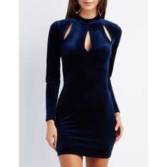 Charlotte Russe Velvet Mock Neck Cut-Out Dress ($20) ❤ liked on Polyvore featuring dresses, navy, body con dress, long sleeve dresses, blue dress, cut out bodycon dress and long sleeve bodycon dress