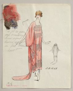1918 House of Worth sketch: Lithograph and watercolor on paper fashion design. Silver spangled embroidery on a rose background. Fabric samples accompany the rendering. Fashion Illustration Sketches, Fashion Sketchbook, Illustrations, Illustration Art, Fashion Prints, Fashion Art, Vintage Fashion, Paper Fashion, Fashion Design