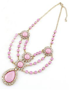 Pink Gemstone Gold Crystal Chain Necklace - Sheinside.com