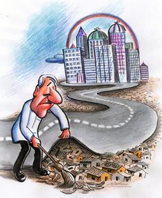 In the cartoon, the man is cleaning and covering the old houses, which represents the developing countries, because of the new apartments. It shows that globalisation makes the gap between the rich and the poor; it accelerated world inequality.