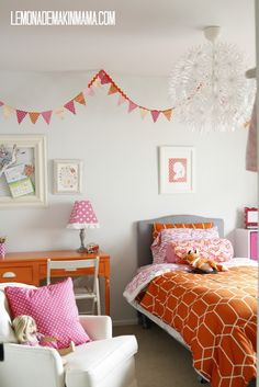 Lemonade Makin' Mama - her Ava's bedroom rocks with bright orange and pinks...the pennant rocks!