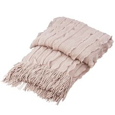 Buy Luxury Ruffles Knitted Throw Dusky Pink | Throws | The Range
