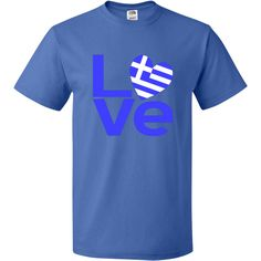 """Greece in Love Blue Letters T-Shirt - Royal Blue  -- Great fun for you or your favorite Greek (you, perhaps?). Lovely design shows the word """"LOVE"""" in blue lettering, but with a heart shaped Flag of Greece replacing the """"O"""". Also wonderful for those who had an Greek adventure and want to remember their travels. It is always a good gift for someone special on your list at Valentine's Day or any special time. $16.99 http://ink.flagnation.comFrom Auntie Shoe."""