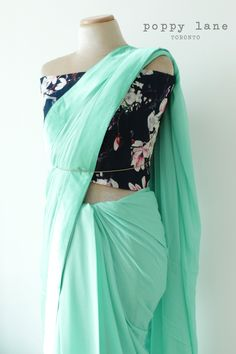 Simple Chic Mint Georgette Sari.  Shop now at poppylane.ca
