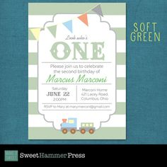 Light Green Light Blue First Birthday Party by SweetHammerPress