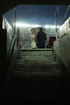 Rain falls prior to kickoff during the UEFA Champions League round of 16, second Leg match between FC Barcelona and Arsenal FC at Camp Nou on March 16, 2016 in Barcelona