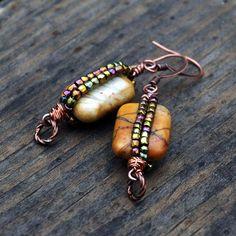 Semiprecious Gemstones Dangle Earrings Picasso di TalismanToo