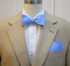 Pocket Square and Bow Tie (self-tie) in pool blue mini gingham