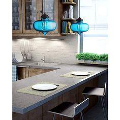 "Possini Euro Darby 10 1/2"" Wide Blue Glass Pendant Light - #Y4939   LampsPlus.com"