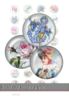Digital Collage Sheet - romantic retro - Bottle cap images - 1 inch circles for paper crafts, resin jewelry, bottle caps.