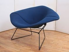 Harry Bertoia for Knoll. 1960's, with Original Knoll peacock blue fabric. Black metal frame and upholstery is in excellent condition