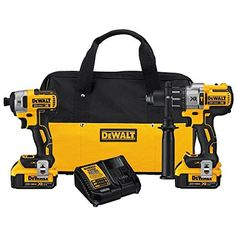 DEWALT DCK299M2 20V MAX XR Lithium Ion Brushless Premium Hammerdrill & Impact Driver Combo Kit, 4.0 Ah by DEWALT -- Awesome products selected by Anna Churchill