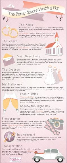 Infographic -The Penny Savers Wedding Plan. A handy guide on how to save money when planning your big day! #weddinginfographic #wedding #infographic