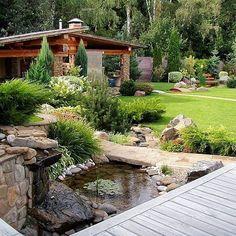 Beautiful Garden Design In Rissia . Garden Paths, Garden Bridge, Backyard Water Feature, Outdoor Living, Outdoor Decor, Outdoor Projects, Backyard Landscaping, Beautiful Gardens, Exterior Design