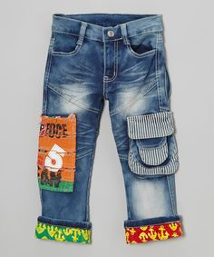 Denim Blue Patch Jeans Rock'n Style, goes perfect with the jacket #Josiah