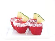 Strawberry Margarita Jello Shots, umm what! I need to step up my jello shots game! Margarita Jello Shooters, Strawberry Margarita Jello Shots, Strawberry Jello, Margarita Mix, Fruit Jello, Fruit Cups, Fun Drinks, Yummy Drinks, Beverages