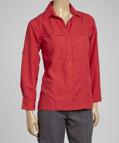 Look what I found on #zulily! Red Convertible Travel Shirt - Women by Guide's Choice #zulilyfinds