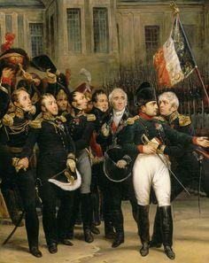 Adieux de Napoléon à la Garde impériale dans la cour du Cheval-Blanc du château de Fontainebleau (detail)