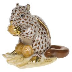 "Herend Hand Painted Porcelain Figurine ""Chipmunk w Berries"" Chocolate Fishnet Gold Accents."