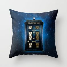 I need this please! // Tardis doctor who Mashup with sherlock holmes 221b door Throw Pillow by Three Second - $20.00