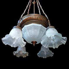 Antique French Art-Deco/Nouveau Frosted Molded Glass Shades/ 6 Light Chandelier #French