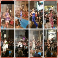 200 metros de alfombra azul..para desfile  de la semana de Moda en Malaga Capital