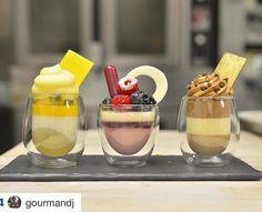Trio of Verrines: Tropical Berries Chicolate Trio Of Desserts, Desserts In A Glass, Dessert In A Jar, Small Desserts, Dessert Cups, Delicious Desserts, Dessert Trio, Ramadan Sweets, Food Counter