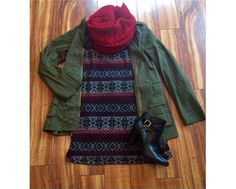 Our Eloise tunic dress w/our Cargo jacket and red scarf! Use code CyberMonday for 30% off http://Nobellagrace.com