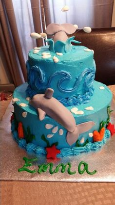 Dolphin themed birthday cake
