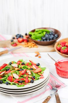 STRAWBERRY SPINACH SALAD RECIPE, leave out the chicken. Agave the honey or use raw sugar for vegan.
