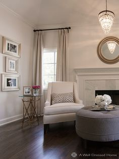 Master bedroom sitting area; A Well Dressed Home.