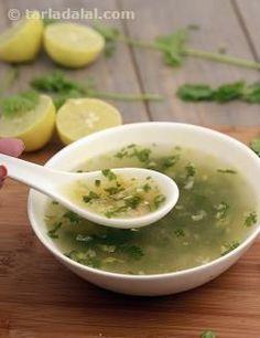 Best diet soup Lemon and Coriander Soup Vitamin C Rich recipe by Tarla Dalal Healthy Soup Recipes, Veg Recipes, Indian Food Recipes, Healthy Snacks, Vegetarian Recipes, Cooking Recipes, Vegetable Soup Recipes, Vegetarian Starters, Jain Recipes