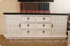 refinished buffet, idea to put in dining room, love the contrast of dark stain top and the white color