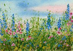 créer un pré de fleurs acrylique + aquarelle, tutoriel