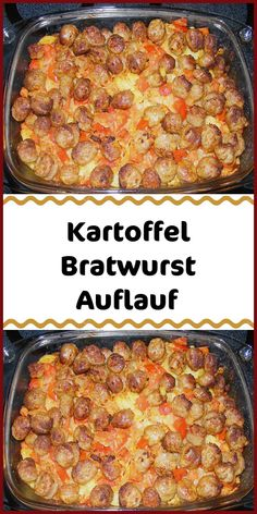 Potato bratwurst casserole - Ingredients 1 kg potato (s) 1 tbsp salt 100 g onion (s) 100 g bell pepper (s) red 1 tbsp olive - Pork Recipes, Chicken Recipes, Peeling Potatoes, My Best Recipe, Food Design, Easy Cooking, Sausage, Good Food, Food Porn
