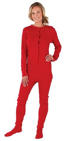 PajamaGram Womens Red Dropseat Footie Pajamas *** Read more  at the image link.