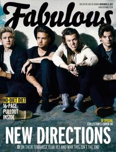 ONE DIRECTION (1D) WORLD EXCLUSIVE UK 1 DAY ONLY FABULOUS MAGAZINE NOVEMBER 2015