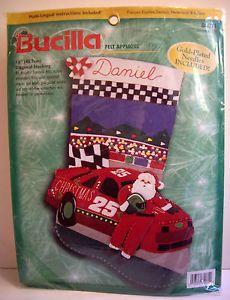 Bucilla-Felt-Applique-Christmas-Stocking-Kit-84071-Christmas-500-Santa-Racecar