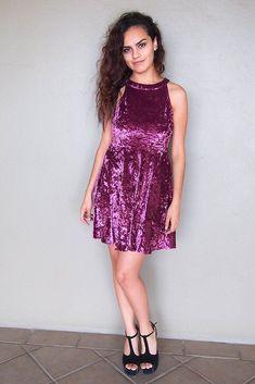 Time Of Love Wine Velvet Halter Skater Dress – Ledyz Fashions Event Dresses, Holiday Dresses, Club Dresses, Fall Dresses, Short Dresses, Party Dresses, Halter Dresses, Chiffon Dress, Lace Dress